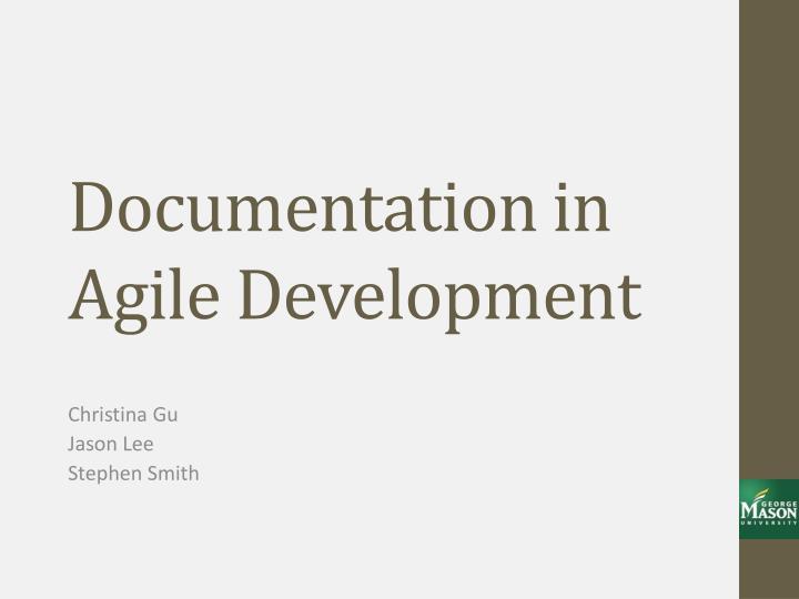 documentation in agile development n.
