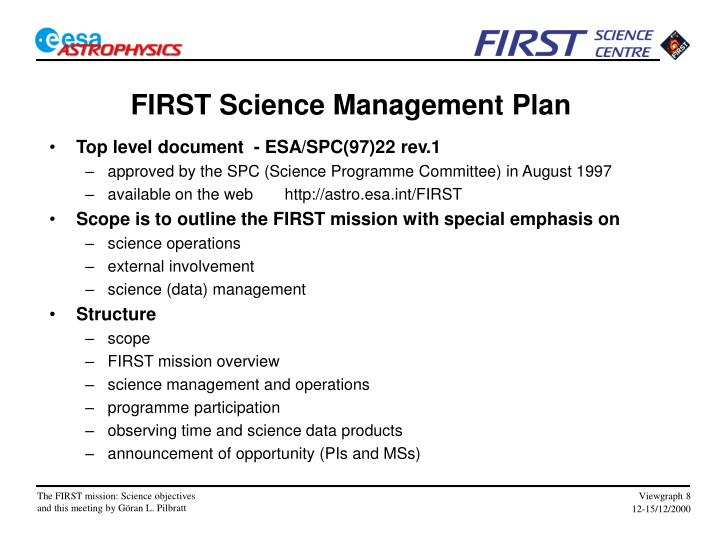 FIRST Science Management Plan