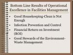 bottom line results of operational excellence in facilities management
