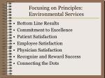 focusing on principles environmental services