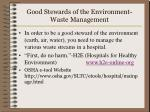 good stewards of the environment waste management