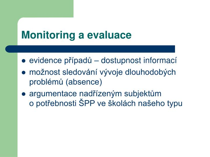 Monitoring a evaluace