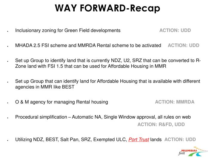 Way forward recap