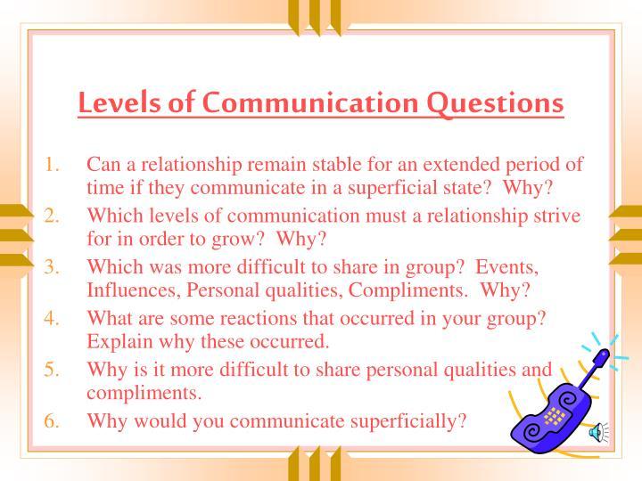 Levels of Communication Questions