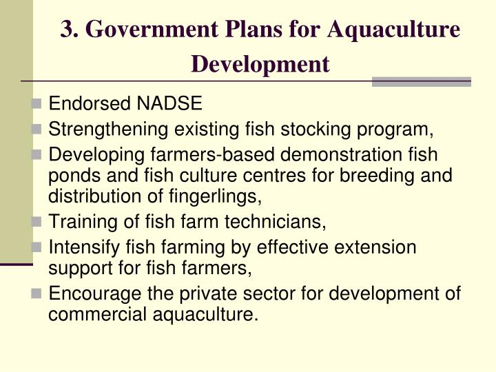 3. Government Plans for Aquaculture Development