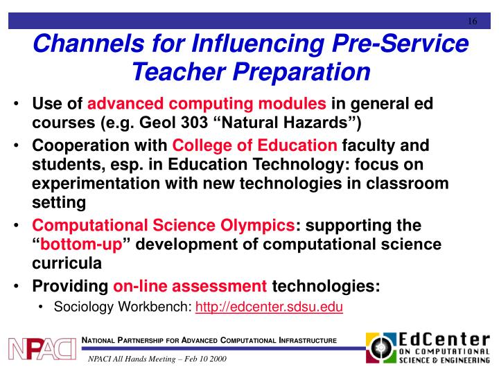 Channels for Influencing Pre-Service Teacher Preparation