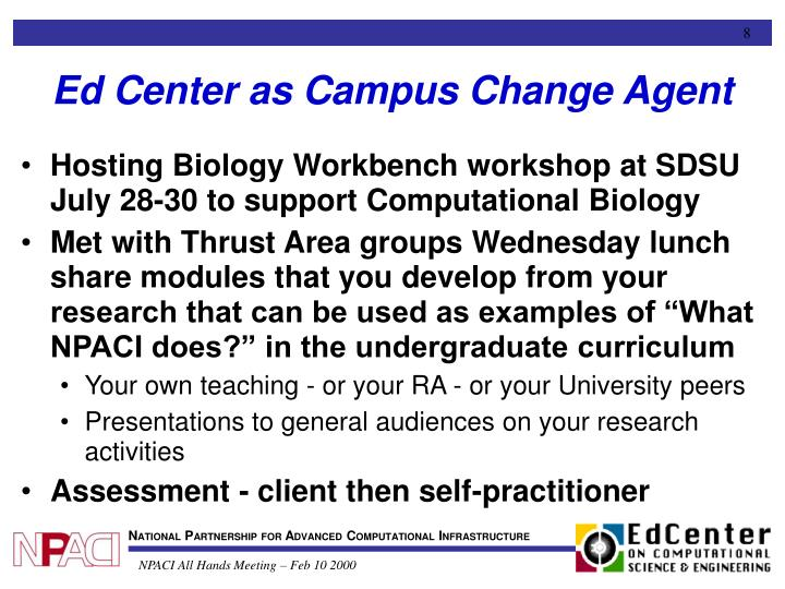 Ed Center as Campus Change Agent