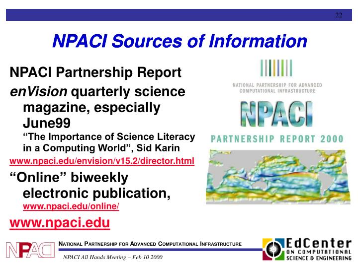 NPACI Sources of Information