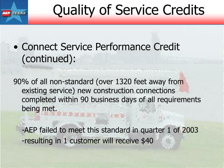 Connect Service Performance Credit (continued):