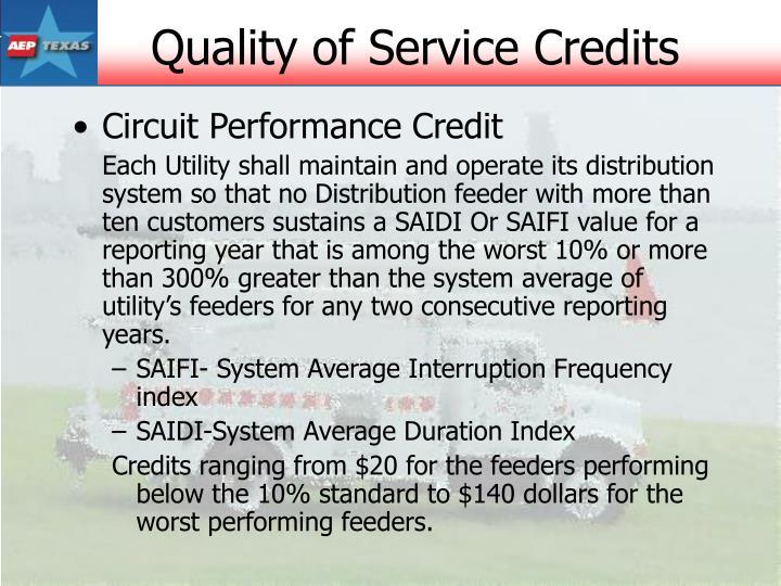 Circuit Performance Credit