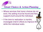 about choices action planning