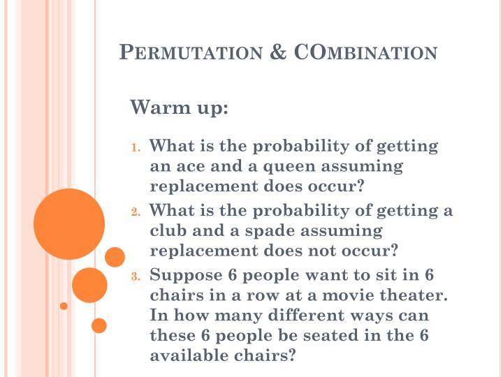 permutation combination n.