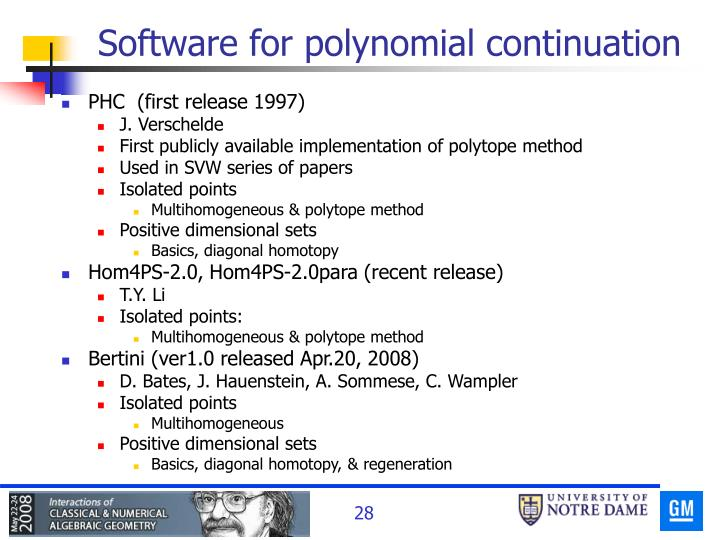 Software for polynomial continuation
