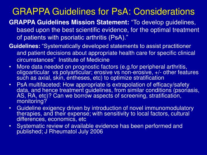 grappa guidelines for psa considerations n.