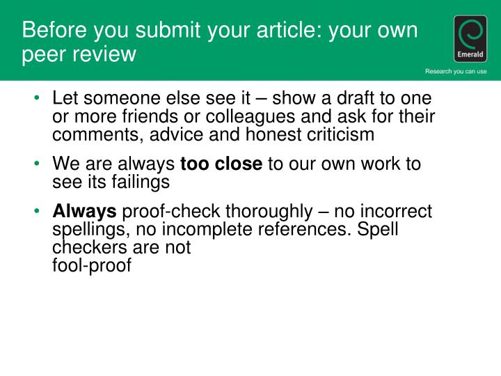 Before you submit your article: your own peer review