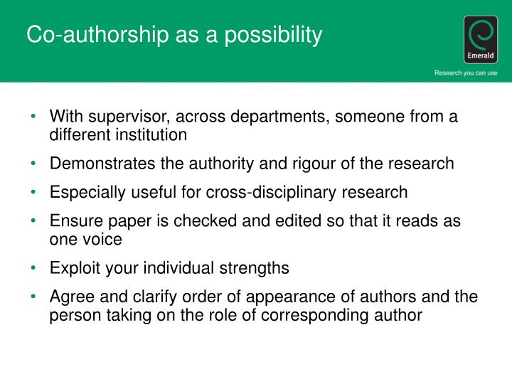 Co-authorship as a possibility