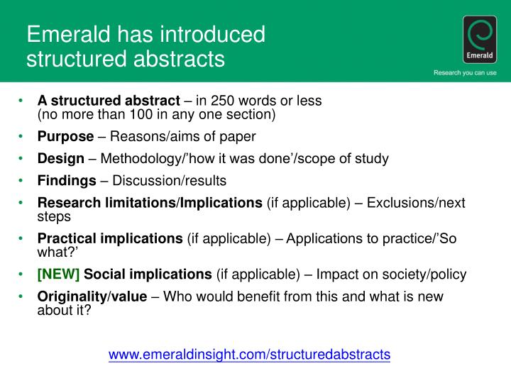 Emerald has introduced structured abstracts