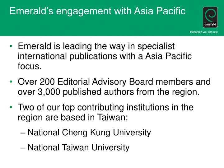 Emerald's engagement with Asia Pacific
