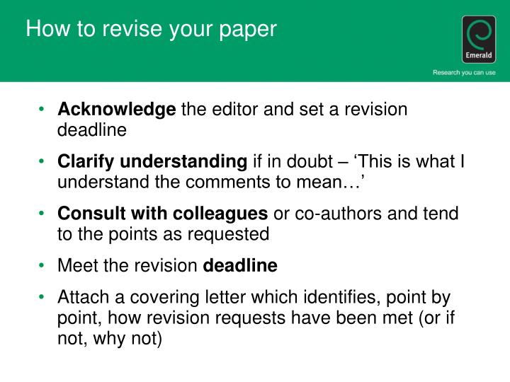 How to revise your paper