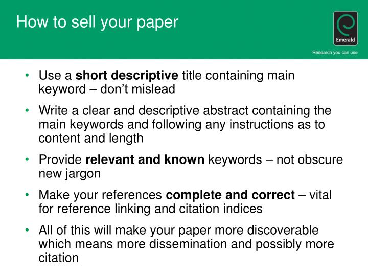 How to sell your paper
