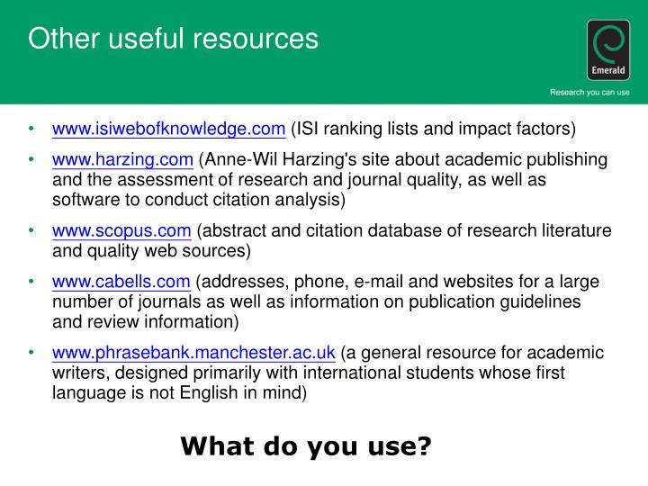 Other useful resources