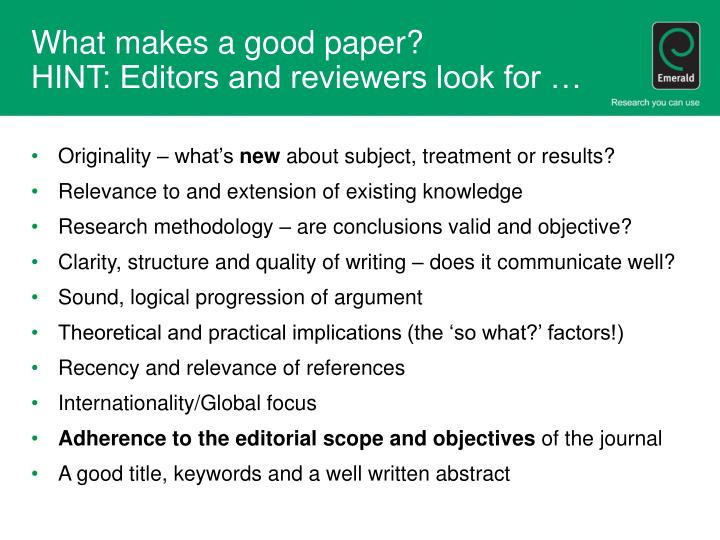 What makes a good paper?