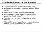 aspects of the system purpose statement