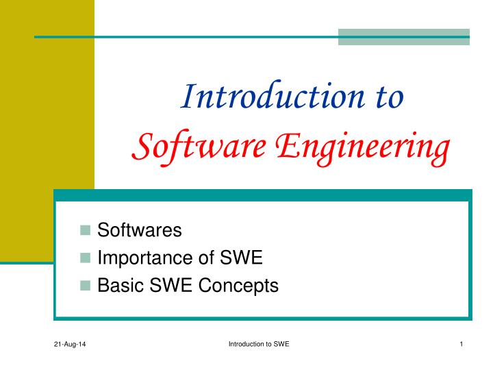 introduction to software engineering Introduction to software engineering design: processes, principles and patterns with uml2 [christopher fox] on amazoncom free shipping on qualifying offers the focus of introduction to software engineering design is the processes, principles and practices used to design software products.