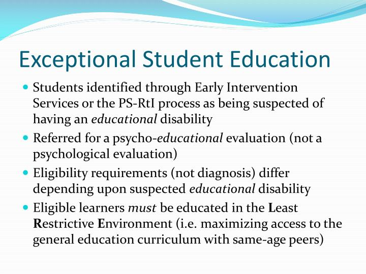 ese final exceptional student education Welcome to the exceptional student learning support website broward county public schools serve over 32,000 students with disabilities and offers a free and appropriate public education in compliance with the federally mandated idea.