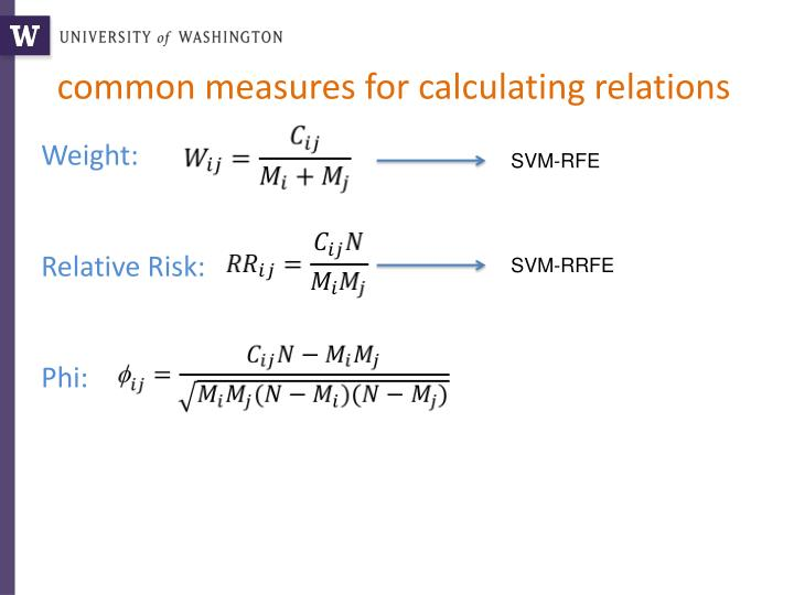 common measures for calculating relations