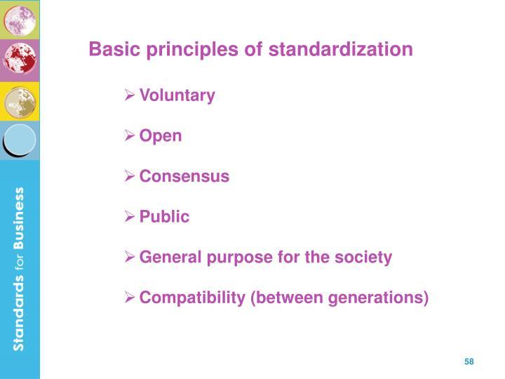 Basic principles of standardization