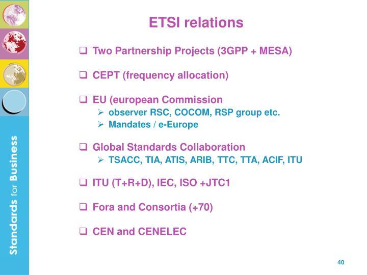 ETSI relations
