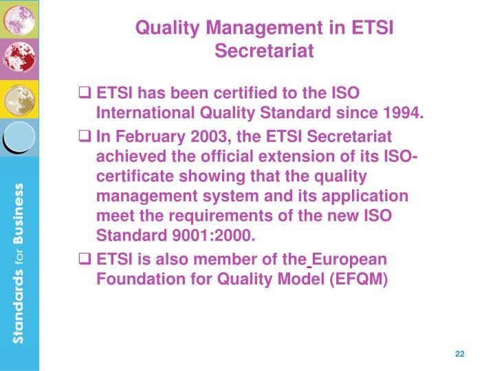 Quality Management in ETSI Secretariat