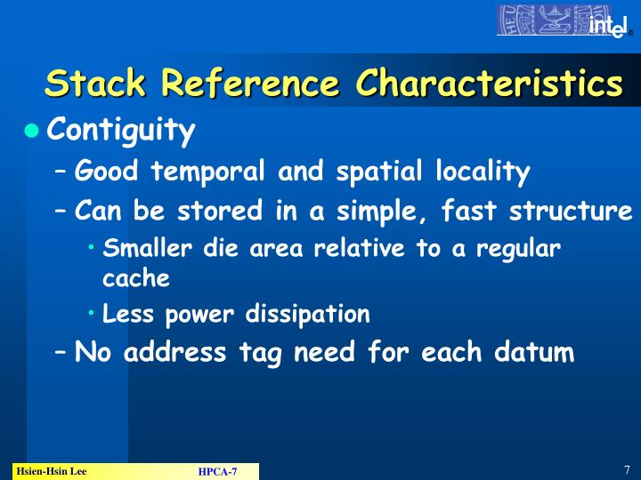 Stack Reference Characteristics