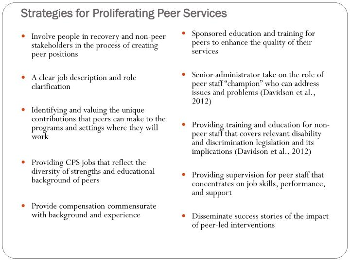 Strategies for Proliferating Peer Services