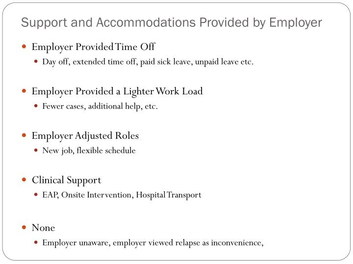 Support and Accommodations Provided by Employer
