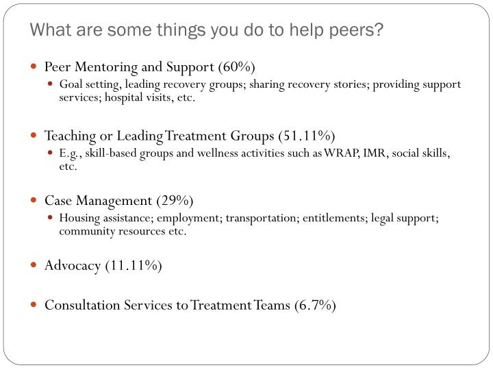 What are some things you do to help peers?