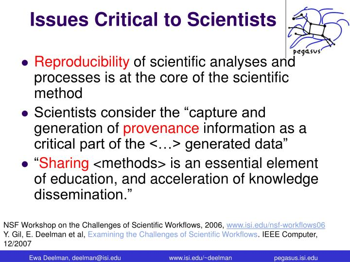 Issues Critical to Scientists