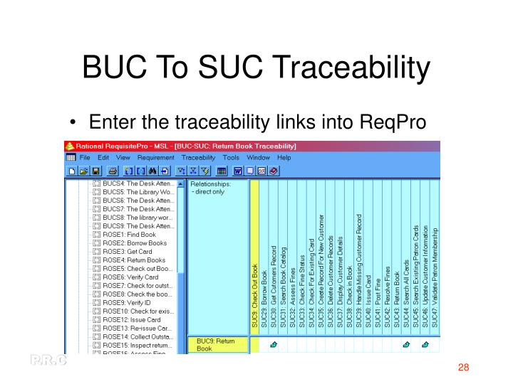BUC To SUC Traceability
