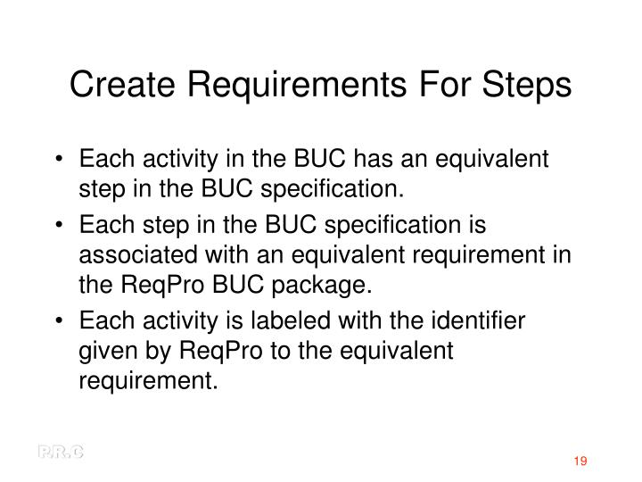 Create Requirements For Steps