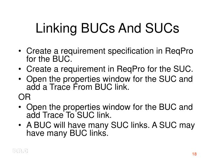 Linking BUCs And SUCs