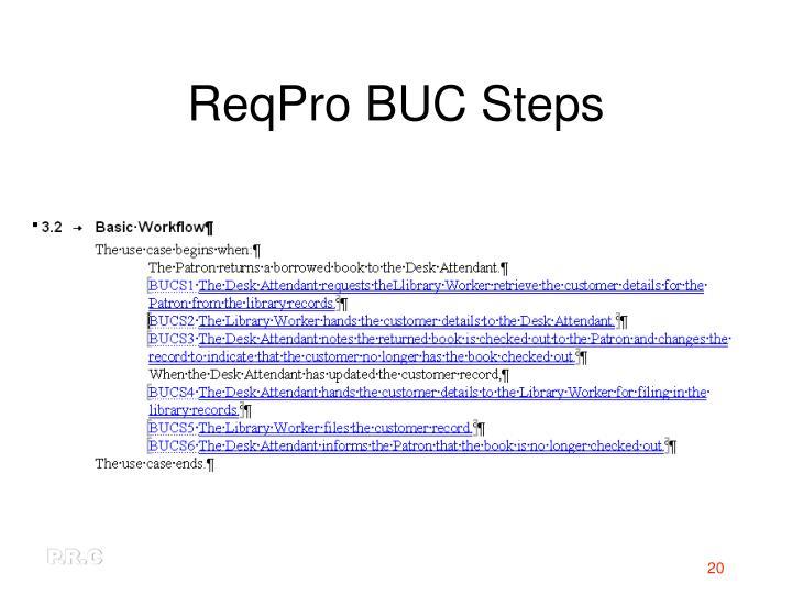 ReqPro BUC Steps