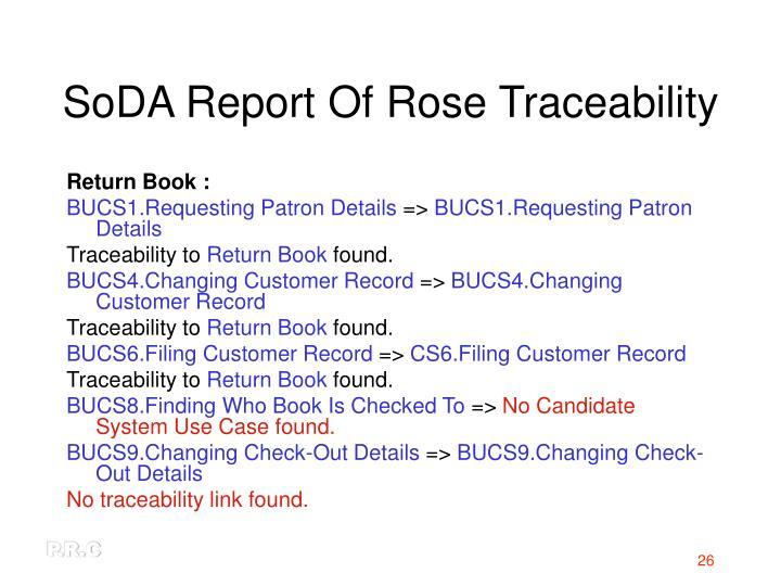 SoDA Report Of Rose Traceability