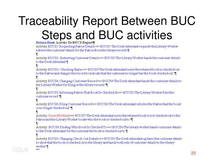 Traceability Report Between BUC Steps and BUC activities
