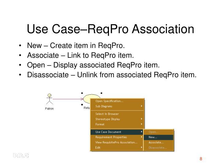 Use Case–ReqPro Association