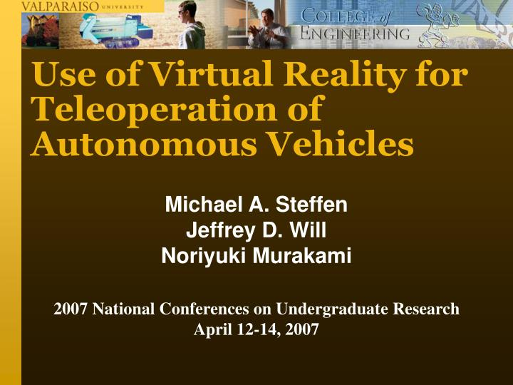 use of virtual reality for teleoperation of autonomous vehicles n.