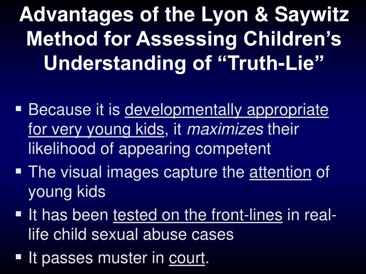"Advantages of the Lyon & Saywitz Method for Assessing Children's Understanding of ""Truth-Lie"""