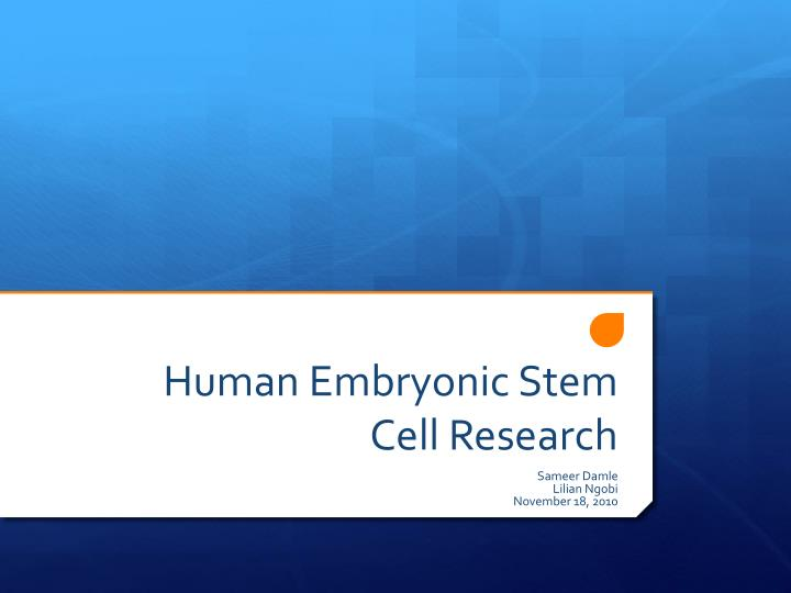 human embryonic stem cell research n.
