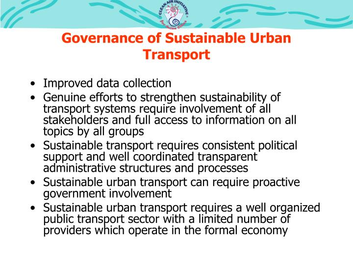 Governance of Sustainable Urban Transport