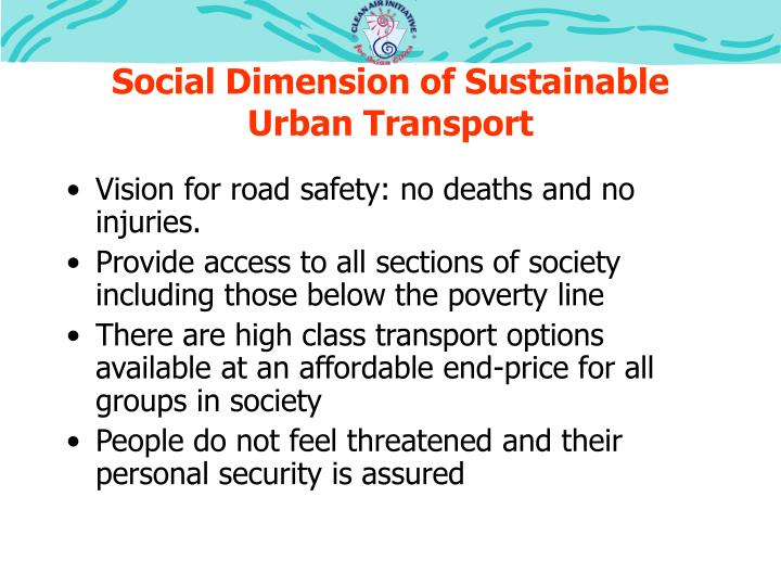 Social Dimension of Sustainable Urban Transport